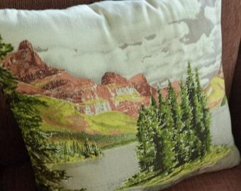 Pillow cover mountain scene, vintage bark cloth, handmade decorative pillow , home decor, Southwestern