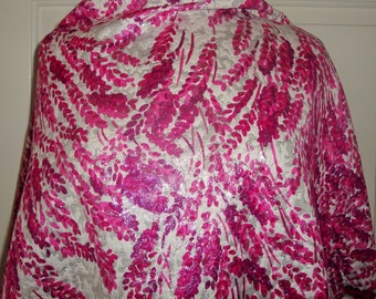 "Couture FRANCE BROCADE Silver Metallic Pink Floral Fabric 3.5Y 48""w New 1050. Retail"