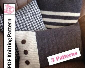 PDF KNITTING PATTERN, knit pillow cover pattern, knit pattern pdf, Stripe pillow cover, houndstooth, Set of 3 patterns