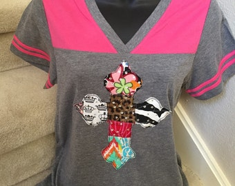 V-neck Football Tee with Patchwork Bling Cross by Two Girls Who Make Crosses