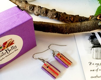 Recycled Skateboard Purple and Maple Drop Earrings