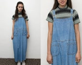 VTG 90s Denim Maxi Dress Jean Overall Dress / 90s grunge Overalls Bib Dress Long Sleeveless / Oversized Jumper Small Medium 90s shift