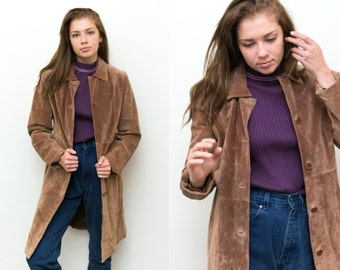 Long Suede Coat / Brown Suede Trench Coat / Vintage Leather Duster Jacket / Maxi Leather Jacket Brown Leather 80s 90s Boho