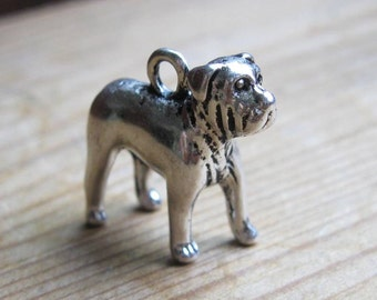 2 Bull Dog Charms in Silver Tone - C2407