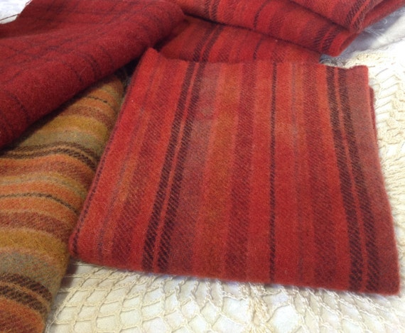 Red Orange Striped Wool, 1) fat quarter, Hand Dyed for Rug Hooking and Applique, W157, Tomato Red, Chili Pepper Red