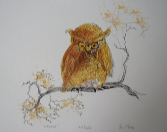 "Owl Art Print ""Whooie"" Signed & Numbered by Artist M. Cole"