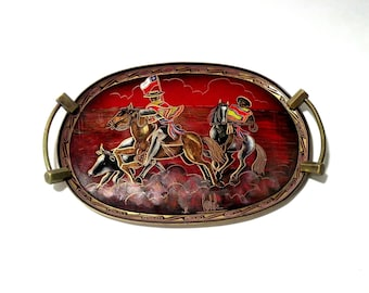 Spanish Brass Serving Tray with Handles or Wall Hanging 2017 Trending Mens Gifts Red Bull Horse Colorful Serving Tray