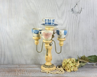 Candelabra with teacups,  teacup candelabra, artfully chic, table centerpiece, candle holder, home decor