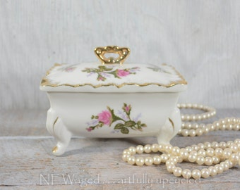 Vintage porcelain box with lid and trays,  vanity set, dresser set