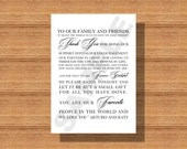 Wedding Day Thank You Note for Wedding Guests, Thank You Note Napkin Card, Wedding Guest Thank You Note, Printable Wedding Thank You Note