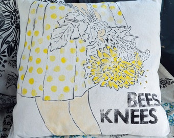 Bees Knees Handprinted Hand-Embroidered  Decorative Pillow COVER OOAK