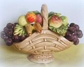 Ceramic Fruit Basket Woven Style Self Handle Small Size Knickknack Shelf Sitter Apples Oranges Grapes Bananas
