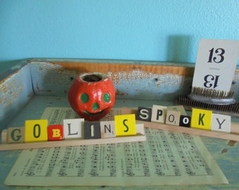 Upcycled Halloween decor vintage game piece letters