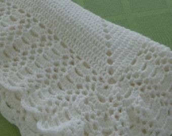 Crocheted Baby Blanket in White