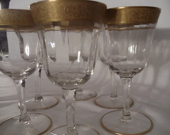 Stunning  Tiffin-Franciscan Rambler Rose Gold Trim 6 Cordial Crystal Glassware,Stemware