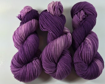 Light Worsted, DK, Superwash Merino, 100 grams, Hand Dyed Yarn, Stop and Smell The Lilacs , double knitting,