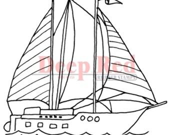 Deep Red Rubber Stamp Sailboat Ship Ocean Nautical