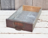 Vintage Wood & Metal Drawer Galvanized Steel Label Holder Handle Tray Shelf Industrial Rustic Storage Wall Decor