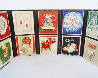 Vintage 1949 Christmas Card Salesman's Sample Thomas Terry Studios Tri-fold Advertising Greeting Cards Santa Poinsettia Wreath