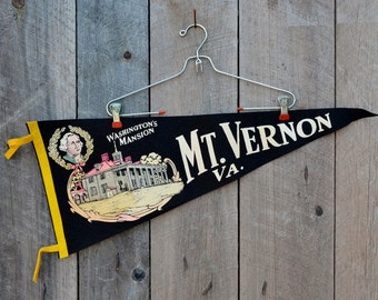 Large Vintage Mt. Vernon Virginia Pennant Black Yellow Pink George Washington Mansion Travel Souvenir Momento Vacation Collectible