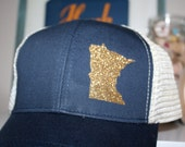 Minnesota 'Sparkly State' Hat - FREE SHIPPING -Gold State Trucker Hat - Organic/ Recycled Material Hat