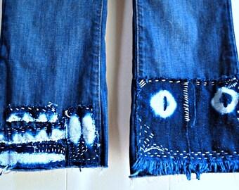 jeans upcycled clothing Indigo mud cloth  fringe jeans Gap jeans cropped flare jeans Gap size 12