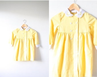 30% OFF out of town SALE Vintage yellow little baby girl coat // baby girl dress coat // little girls collared jacket // baby double button