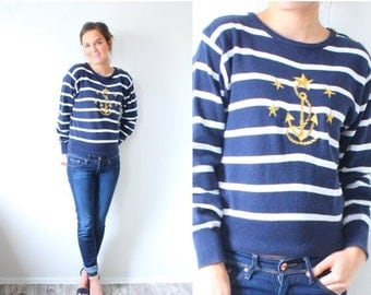20% OFF VALENTINES SALE Vintage Xs navy blue striped sweater // nautical sweater // boho anchor sweater // gold anchor striped sweater // Mo