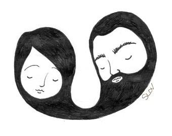 Beard Love Greeting Cards - pdf download