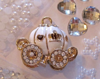 White Gold Pumpkin Coach Bling DIY Cell Phone Jewelry Making