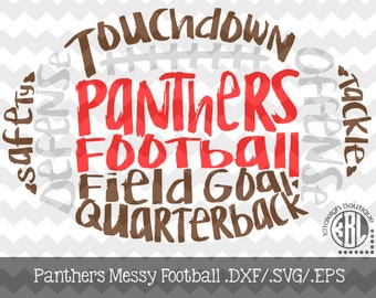 Messy Panthers Football design INSTANT DOWNLOAD in dxf/svg/eps for use with programs such as Silhouette Studio and Cricut Design Space