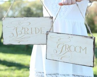 Bride and Groom Chair Sign Set Rustic Wedding Chair Signs