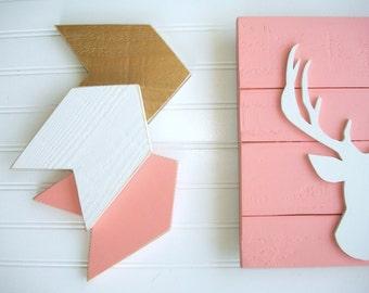 Nursery Arrows. Arrow Nursery . Coral Gold . Baby Girl Nursery . Girls Woodland Nursery .Gift . Arrow Set  . Chevron Arrows. Tribal Nursery