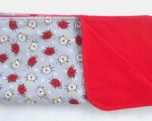 Flannel and Cotton Swaddling Blanket / Little Devil / Red and Gray