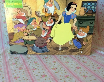 Snow White and the Seven Dwarfs, Vintage Snow White Puzzle, Vintage Floor Puzzle, Vintage Snow White
