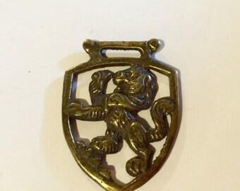 MOVING SALE Half Off Vintage Brass Metal Gothic Large Lion Medal Medallion Pendant Perfect for Assemblage Signed England