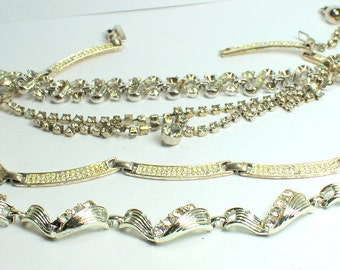 Destash Craft Lot of Vintage and Newer Salvaged Clear Rhinestone  Jewelry Pieces  Perfect for Bridal Assemblage