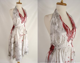 MARILYN MONROE ZOMBIE. Plus Size Costume. White Satin Halter Dress. Bloody Vampire Halloween Costume. marylin monroe dress. size 20 xxl 2x.