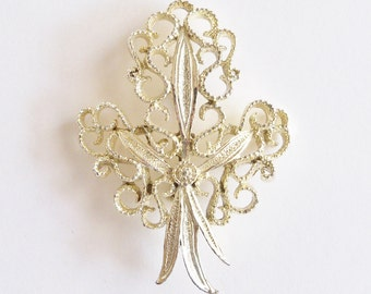 Brooch Silver Tone signed Gerrys Bridal Sash Jewelry Wedding Gift for Her Birthday Mother's Day Vintage Christmas