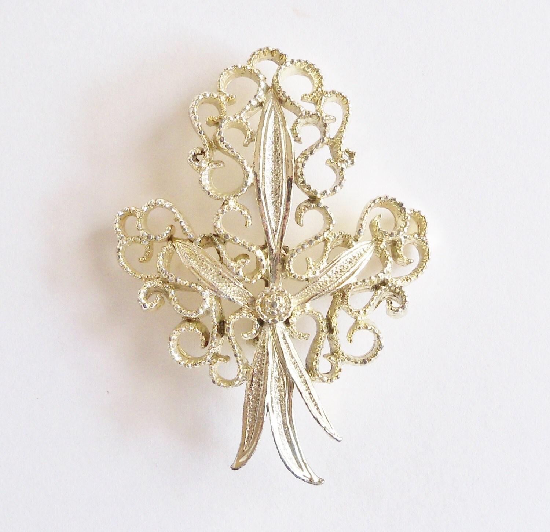 brooch silver tone signed gerrys bridal sash jewelry wedding