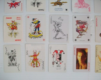 instant collection of 21 vintage JOKER playing cards . Joker card - vintage clowns . jokers . vintage playing cards