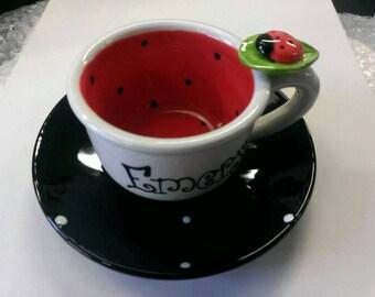 Lady Bug Teacup & Saucer
