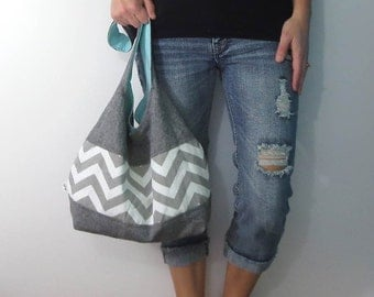 Linen and chevron hobo bag. Design your own choose size, strap length, and interior solid color. Black linen blend with gray chevron.