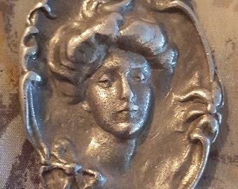 Vintage 1960s Art Nouveau Girl Portrait Pendant. Cameo Relief