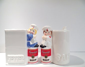 Campbell's Soup Kids Salt and Pepper Shaker Set - Vintage Campbell's Soup Kids Shakers - Campbell's Soup Kids - Soup Kids