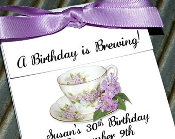 Custom Personalized  Dainty Lilacs Floral Teacup Tea Party Favors perfect Birthday Favors for any Age ~ Lavender Tea cup Tea Bag Holders