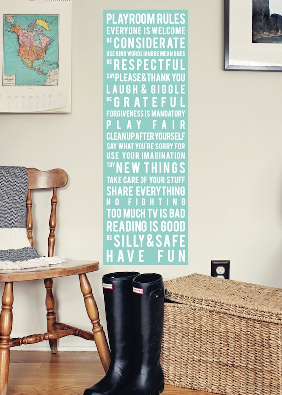 Playroom Rules Subway Art Canvas 12 x 36