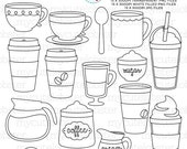 Coffee Digital Stamps - stamps, line art, outlines, coffee stamps, coffee cups - personal use, small commercial use, instant download