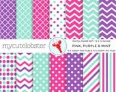 Pink, Purple, Mint Digital Paper Set - patterned paper pack - assorted paper - personal use, small commercial use, instant download