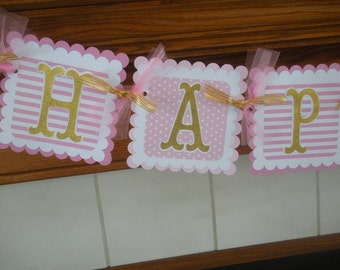 Pink Gold Birthday Banner, Pink Gold Birthday Banner Collection, Gold and Pink 1st Birthday banner, Matching  Pom Poms Available